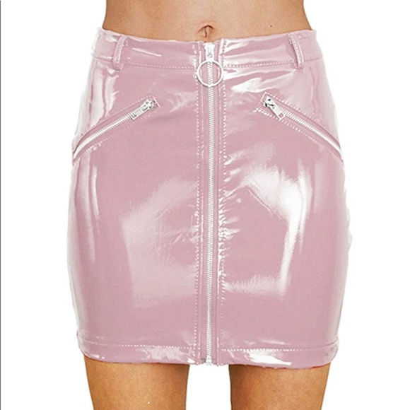 15f96d1316b713 Skirts | Baby Pink Latex Mini Skirt With O Ring Zipper | Poshmark